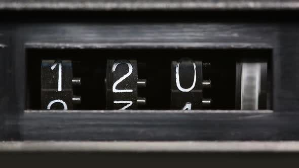 Thumbnail for Old Mechanical Counter Counts Numbers From 0 To 2350 - Macro