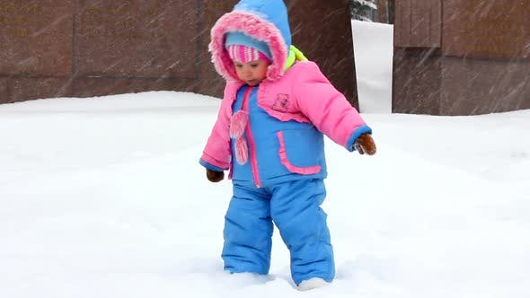 Thumbnail for Baby Girl Walking In Winter Park 1