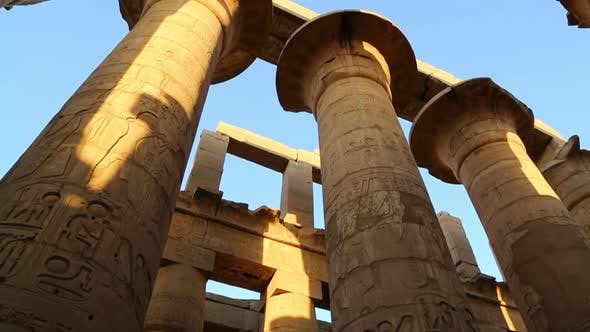 Thumbnail for Columns In Karnak Temple  Ancient Egypt Hieroglyphics - Tilt View