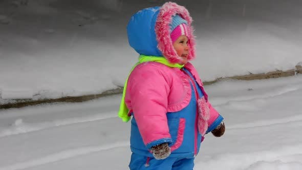 Thumbnail for Baby Girl Walking In Winter Park 2