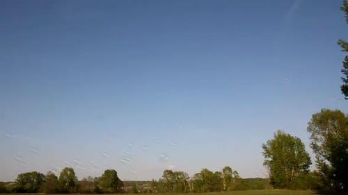 Soap Bubbles Flying On Blue Sky Background