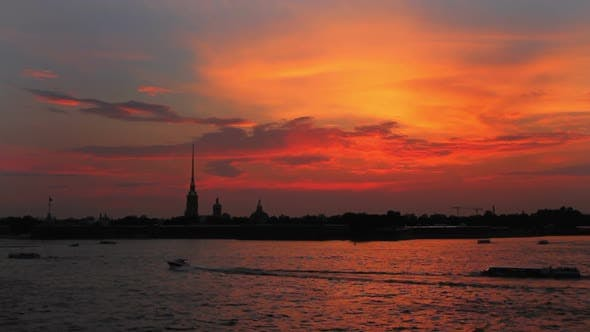 Thumbnail for Sunset Over Peter And Paul Fortress In Saint-Petersburg Russia -