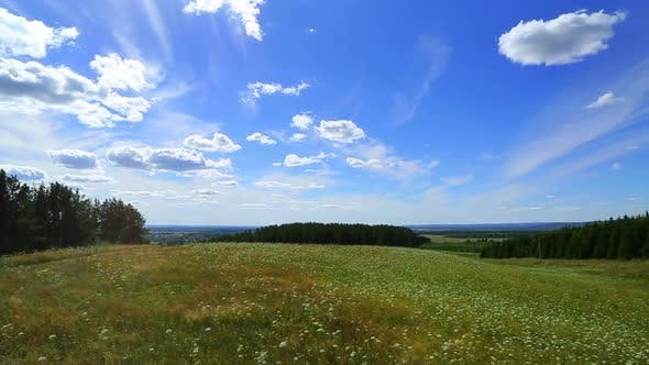 Thumbnail for Landscape  Clouds Moving Over Summer Meadow 2
