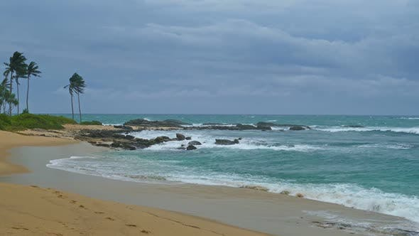 Thumbnail for Sea Stormy Landscape Over Rocky Coastline In Indian Ocean 1