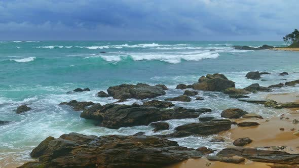 Thumbnail for Sea Stormy Landscape Over Rocky Coastline In Indian Ocean 2