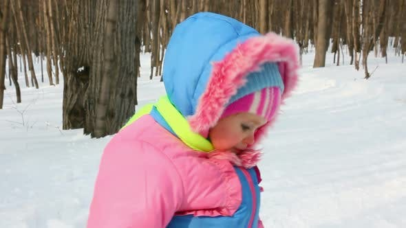 Thumbnail for Baby Girl Walking In Winter Park 4