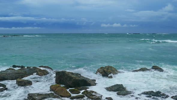 Thumbnail for Sea Stormy Landscape Over Rocky Coastline In Indian Ocean 4