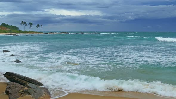 Thumbnail for Sea Stormy Landscape Over Rocky Coastline In Indian Ocean 9