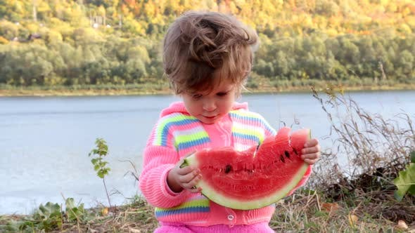Thumbnail for Baby Eating Ripe Watermelon 1