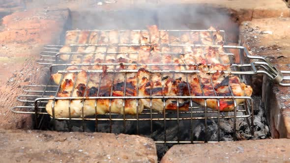 Cooking Barbecue On Grill 2