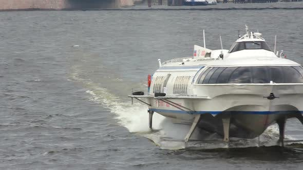 Thumbnail for Meteor - Hydrofoil Boat On Neva River In St. Petersburg Russia 3