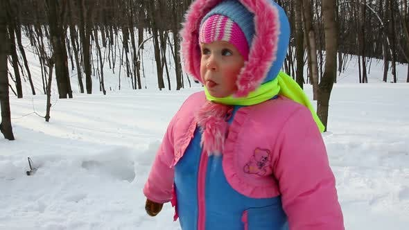 Thumbnail for Baby Girl Walking In Winter Park 6