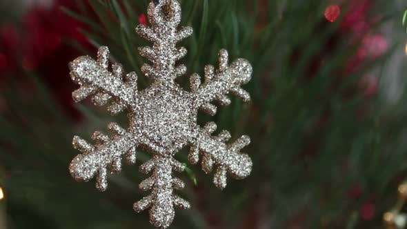 Thumbnail for Decorative Snowflake On Christmas Tree Decorated  Flashing Garlands 2