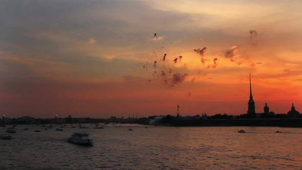 Thumbnail for Firework At Sunset Over Peter And Paul Fortress In Saint-Petersburg Russia - 2