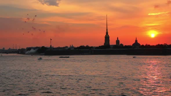 Thumbnail for Firework At Sunset Over Peter And Paul Fortress In Saint-Petersburg Russia 1
