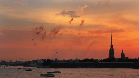 Thumbnail for Firework At Sunset Over Peter And Paul Fortress In Saint-Petersburg Russia 2
