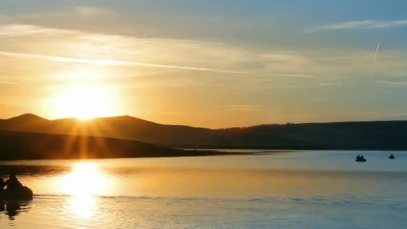 Thumbnail for Fisherman Boats On Morning Lake  Mountain -
