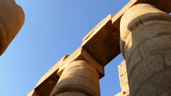 Cover Image for Top Of Columns In Karnak Temple  Ancient Egypt Hieroglyphics - Pan View 1