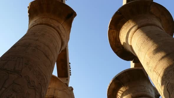 Thumbnail for Top Of Columns In Karnak Temple  Ancient Egypt Hieroglyphics - Tilt View