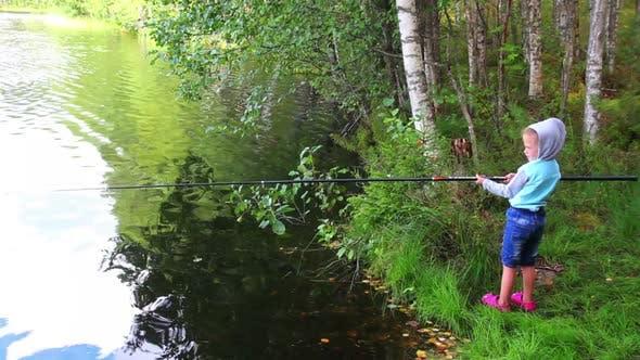 Thumbnail for Fishing Littlle Girl  Rod On Forest Lake