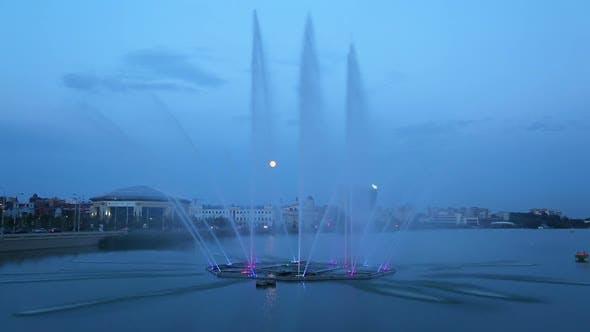 Fountain On The Lake Kaban At Night In Kazan, Tatarstan, Russia -