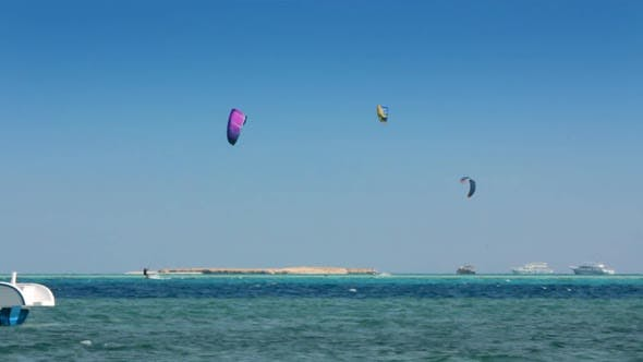 Thumbnail for Kite Surfing - Surfers On Blue Sea Surface 2