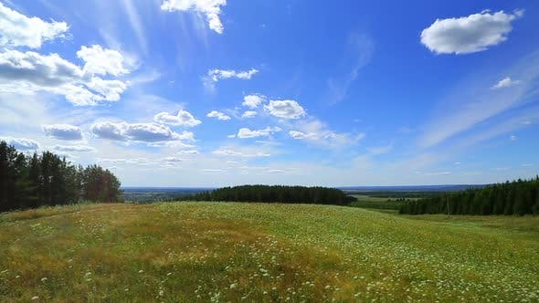 Thumbnail for Landscape  Clouds Moving Over Summer Meadow 1