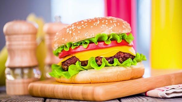 Thumbnail for Tasty And Appetizing Hamburger Cheeseburger