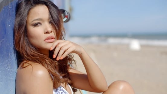 Thumbnail for Beautiful Young Brunette Woman At The Seaside