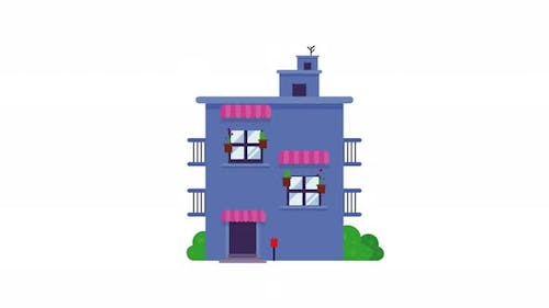 Animated house building with letter box and bushes.