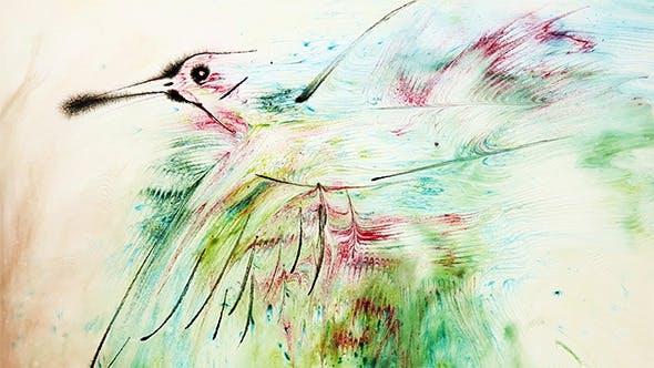 Peinture à l'eau d'un oiseau