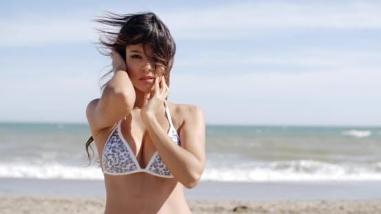 Thumbnail for Attractive Woman On a Windy Beach