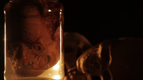 Creepy Head in a Bottle Spinning