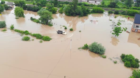 Thumbnail for Aerial View River That Overflowed After Heavy Rains and Flooded Agricultural Fields