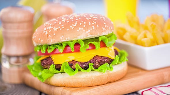 Cover Image for Tasty And Appetizing Hamburger Cheeseburger