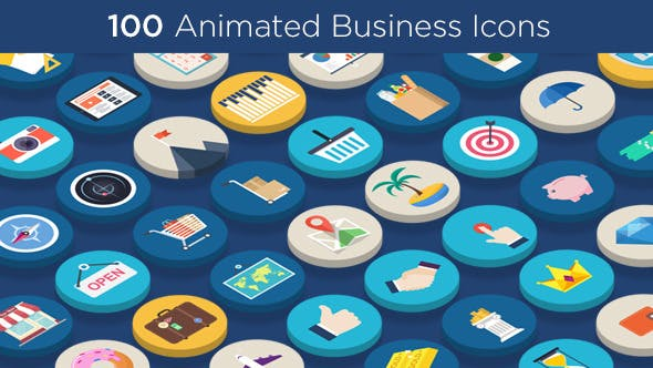 Thumbnail for 100 Animated Business Icons
