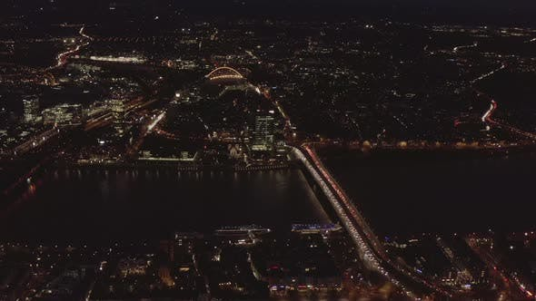 Thumbnail for AERIAL: Beautiful Wide Shot Over Cologne Germany with River Rhine and Bridge Car Traffic and City