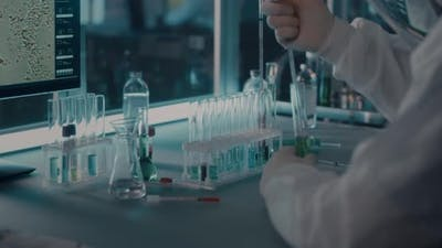 Crop Doctor Researching Vaccine in Modern Laboratory