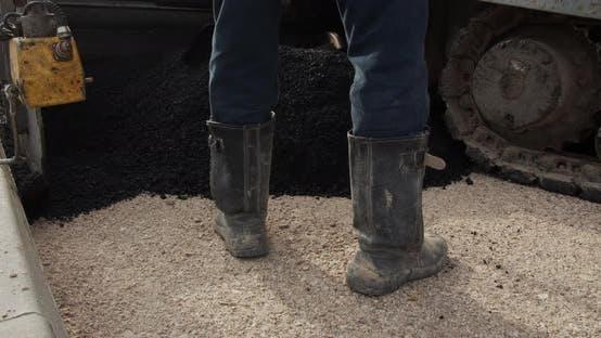 Thumbnail for Asphalt Paver Applying Asphalt On The Highway