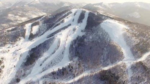 Bird View To the Ski Slopes of the Gorny Vozduh Resort