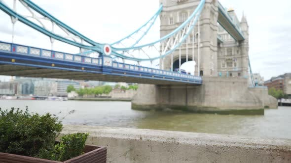 Angled view of out of focus Tower Bridge in London perfect spot for sightseeing