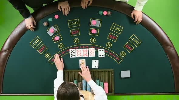 Thumbnail for Company Plays Poker in Casino at the Table. Green Screen. Top View