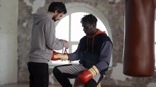 Assistant Helping to Put on Boxing Gloves to a Male Athlete Tie a Lace
