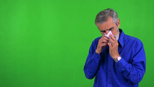 Thumbnail for Old Senior Man Blow One's Nose - Green Screen - Studio