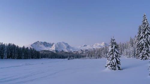 Sunrise Over Winter Landscape Time Lapse