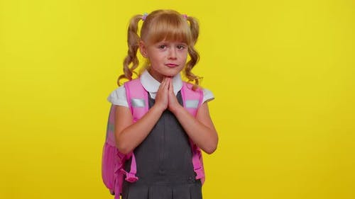 Pupil Girl Teenage Sincerely Praying to God and Looking Up with Pleading Expression Begging Apology