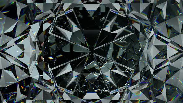 Diamond shine and sparkling with kaleidoscope effect. 3d render, 3d animation