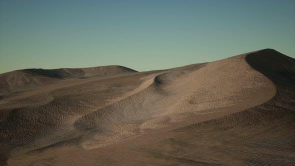 Aerial View on Big Sand Dunes in Sahara Desert at Sunrise