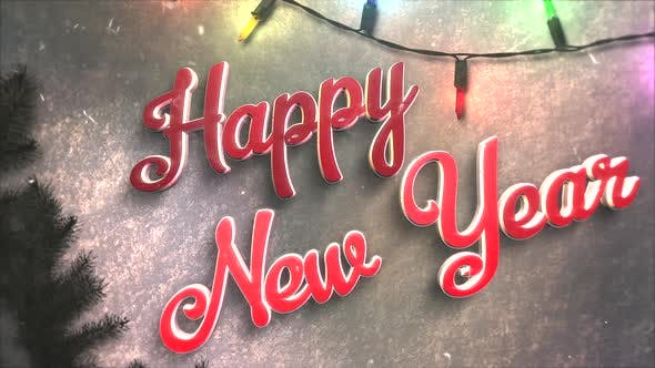 Thumbnail for Animated closeup Happy New Year text, colorful garland and Christmas green tree branches