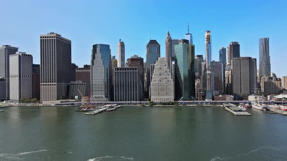 Aerial View of New York City Panorama with Manhattan Skyline Office Buildings